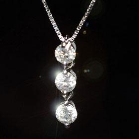 ダイヤモンド ネックレス トリロジー 天然ダイヤモンド0.3ct K10WG ホワイトゴールド スリーストーンペンダント(ネックレス)【あす楽対応】