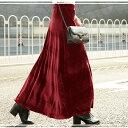 ベロアスカート フレアスカート 選べる2丈 クロップド丈 ロング丈 ミモレ丈 レディース  送料無料 U500skirt