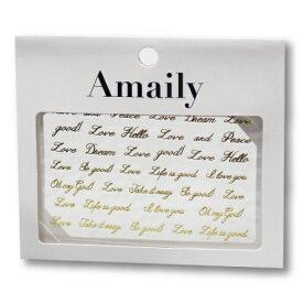 Amaily ネイルシール No.8−8 筆記体メッセージ ゴールド  アメイリー ネイルシール