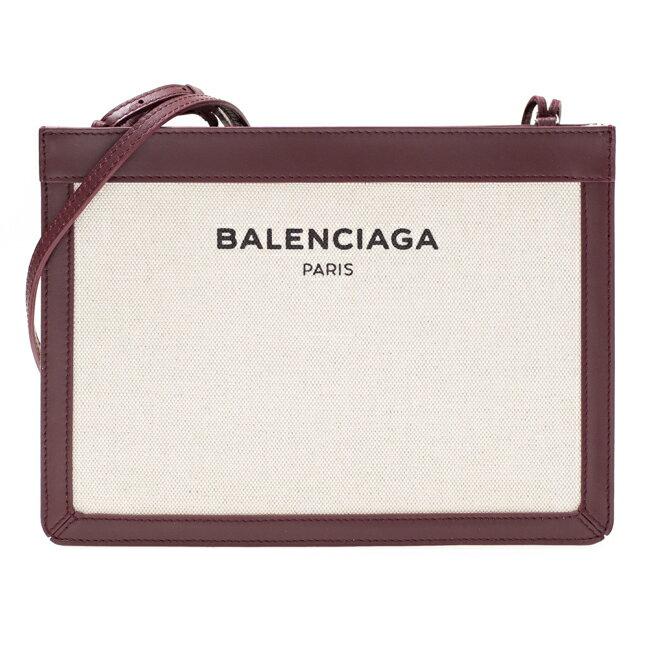 バレンシアガ BALENCIAGA ショルダーバッグ キャンバス/レザー ナチュラル/ボルドー 339937 A037N 6180 BANDOULIERE ロゴ レディース 送料無料