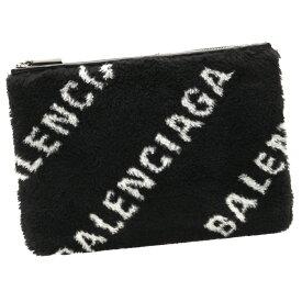 バレンシアガ ポーチ クラッチバッグ ファー ロゴ 594428 HSHBN 1090 BALENCIAGA ブラック/ホワイト メンズ レディース クリスマス ギフトラッピング対応