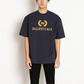 バレンシアガ Tシャツ 半袖 カットソー ネイビー オーバーサイズ 492558 TAV04 4128 BALENCIAGA Sサイズ メンズ コットン 綿 紺 ギフト プレゼント 新品 正規品