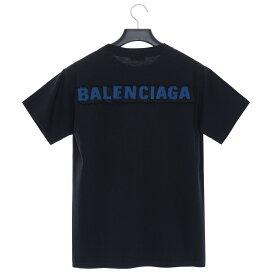 バレンシアガ Tシャツ カットソー 半袖 トップス BALENCIAGA メンズ 518262 TAV51 1000 ブラック コットン S/M/L ロゴパッチ お洒落