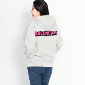 バレンシアガ パーカー フーディー バックロゴ ライトグレー XS/S BALENCIAGA 518250 TAV50 1302 レディース 裏ボア 秋冬 コットン 綿 送料無料