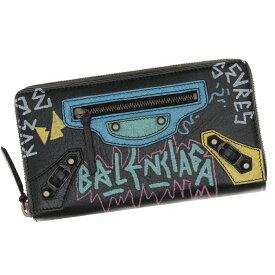 ショップ袋付き バレンシアガ 財布 ファスナー長財布 クラシック レディース メンズ BALENCIAGA グラフィティ レザー ブラック/マルチカラー 253036 0FE0T 1060 GRAFFITI ギフト プレゼント