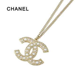 chanel necklace. chanel chanel necklace cc mark pearl / rhinestone gold a64763 limited edition design ☆ reviews to write with! i