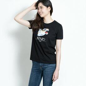 ケンゾー KENZO クルーネック Tシャツ レディース タイガーヘッド ロゴ プリント カットソー カジュアル F862TS7714YR.99.XS 黒