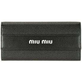 ミュウミュウ MIUMIU 二つ折り長財布 パスケース付 ブラック 5MH109 BU4 1000 マドラス MADRAS CITY レディース レザー 革 ミューミュー 送料無料