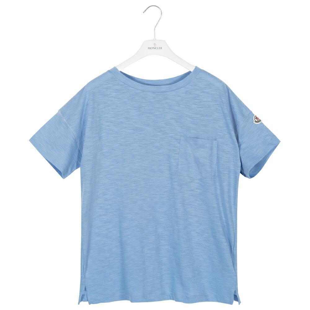 モンクレール MONCLER Tシャツ オーバーサイズ レディース メンズ 半袖 袖ロゴ ブルー T-SHIRT GIROCOLO 8081900 82857 70C S【送料無料】【トップス ブランドTシャツ】