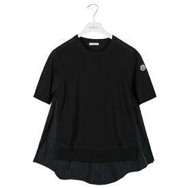 モンクレール Tシャツ レディース MONCLER コットン ニット XS/S ブラック 9075900 99557 999 MAGLIONE TRICOT GIROCOLLO 春夏 リブ【送料無料】