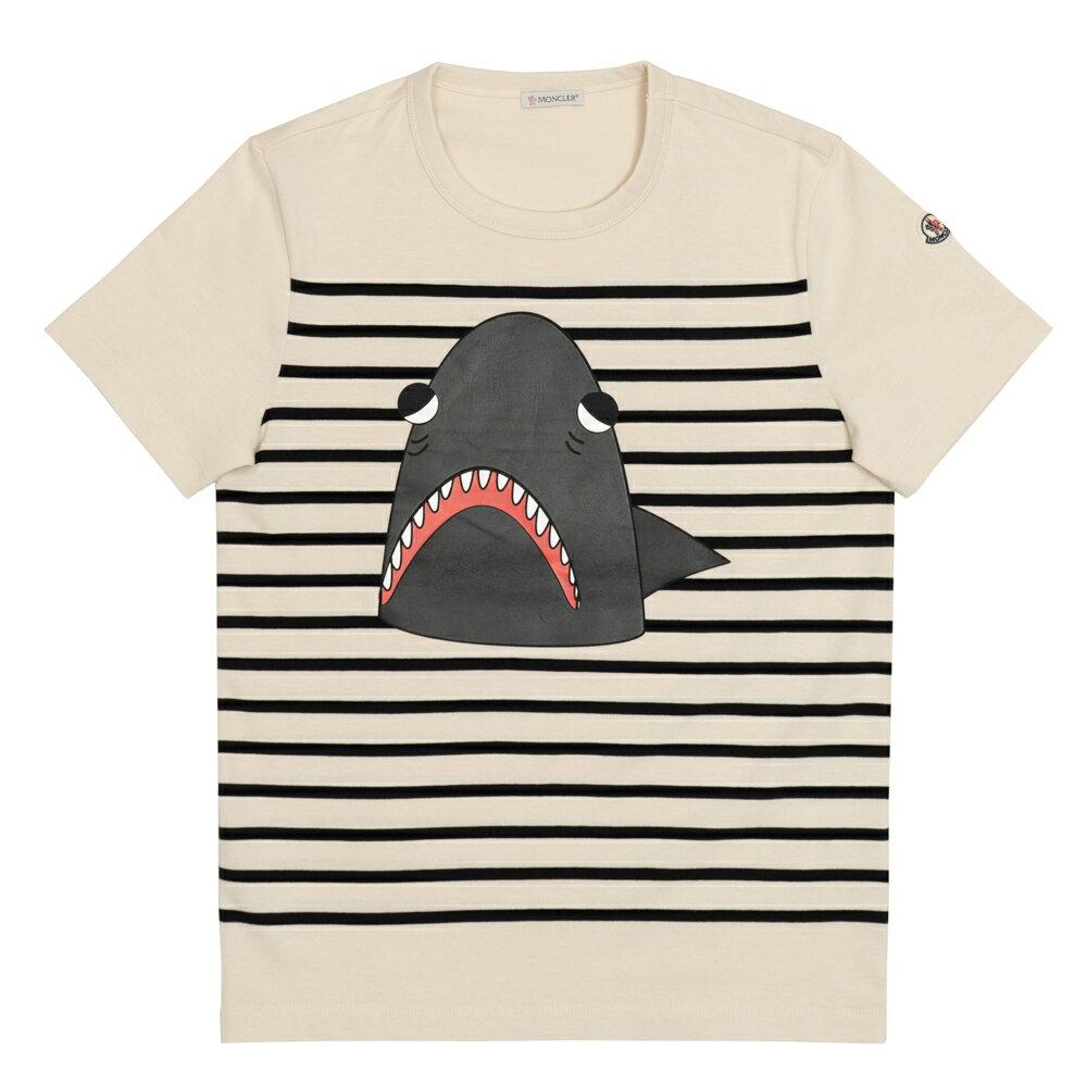 モンクレール MONCLER Tシャツ メンズ 半袖 袖ロゴ アイボリー/ブラック ボーダー シャーク MAGLIA T-SHIRT 8020450 8390M 990 S【送料無料】【トップス ブランドTシャツ】