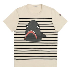 モンクレール Tシャツ メンズ 半袖 袖ロゴ アイボリー/ブラック ボーダー シャーク MONCLER MAGLIA T-SHIRT 8020450 8390M 990 S【送料無料】【トップス ブランドTシャツ】