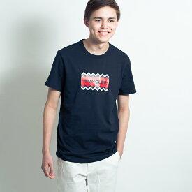 モンクレール MONCLER メンズ Tシャツ カットソー 半袖 袖ロゴ ネイビー MONCLER MAGLIA T-SHIRT 8037250 8390T 773 Sサイズ【送料無料】【メンズ トップス ブランドTシャツ】