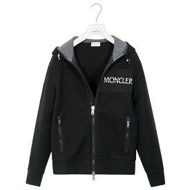 モンクレール メンズ パーカー ブラック MONCLER MAGLIA CARDIGAN S 8421500 83145 999 ジップアップ Wジップ 胸ロゴ コットン ゴルフ【送料無料】