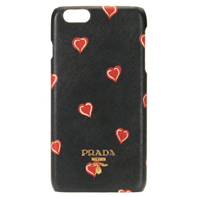プラダ PRADA iphone6plus iphone6splus ケース アイフォンケース6プラス アイフォン6sプラス ブラック ハート柄 5.5