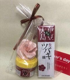 【送料無料】「ギフトC」サラッとしたつけごこちの「伊豆大島の生ツバキ油45ml」伊豆大島の生ツバキ油配合の「ハンドクリーム」の組合わせです。メッセージカードと手作りばらの花を添えます。4100