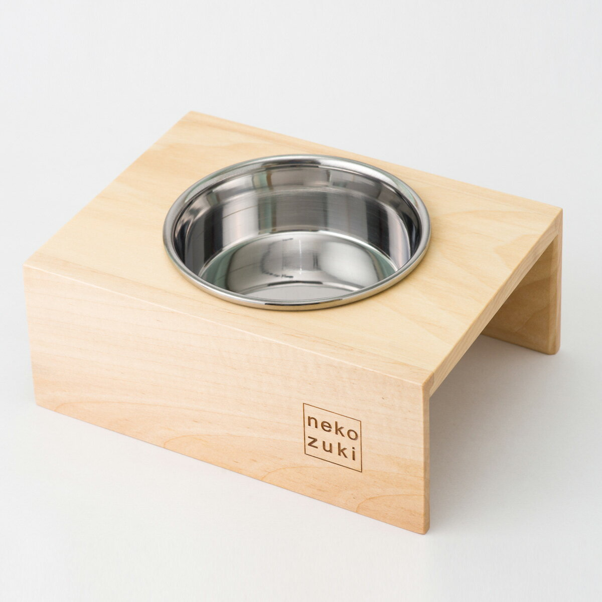 食器台 まんま台 猫 hole 国産 ステンレス食器 シングル