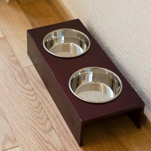 食器台 猫 まんま台 hole ダブル マルーン ステンレス食器 日本製