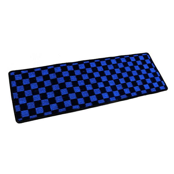 二列目フロアマット 日産 セレナ 黒×青 チェック ブラック×ブルー 120cm×40cm ブロックチェック 【 カーマット ラグマット 120センチ 40センチ 2列目 二列目 カバー フロアー】