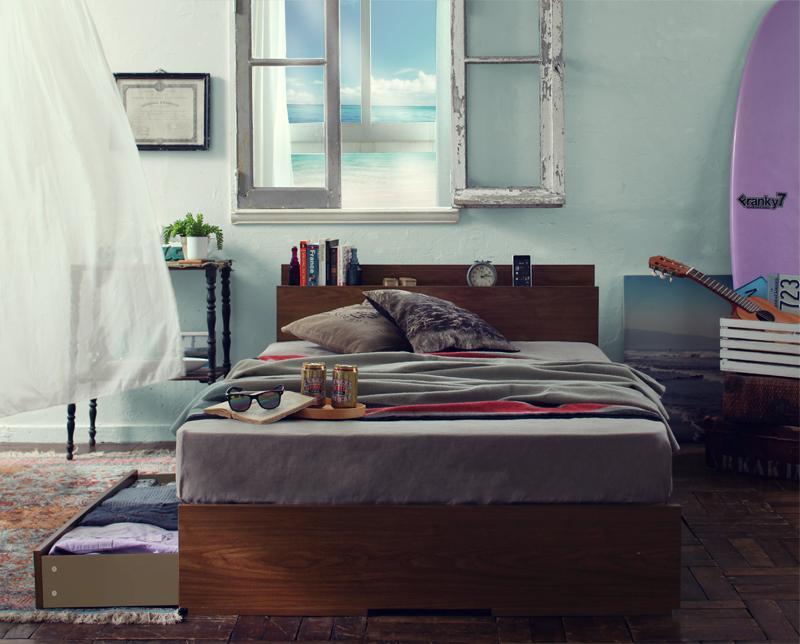 【ポイント10倍】収納ベッド セミダブル 床板仕様【Arcadia】【ボンネルコイルマットレス:ハード付き】フレームカラー:ウォルナットブラウン 棚・コンセント付き収納ベッド【Arcadia】アーケディア