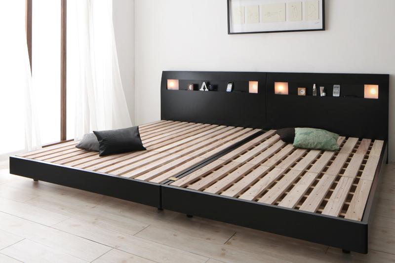 【ポイント10倍】すのこベッド ワイドキング240(セミダブル×2)【フレームのみ】フレームカラー:ブラック 棚・コンセント・ライト付きデザインすのこベッド ALUTERIA アルテリア