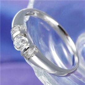 【ポイント10倍】0.28ctプラチナダイヤリング 指輪 デザインリング 15号