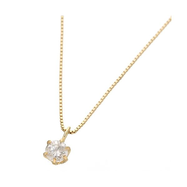 【ポイント10倍】0.1ctダイヤモンドペンダント/ネックレス(ベネチアンチェーン) 18Kイエローゴールド