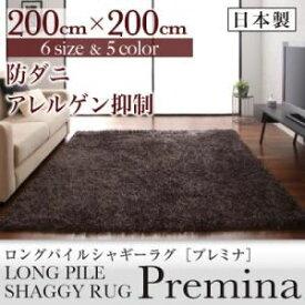 【ポイント10倍】ラグマット 200×200cm【Premina】グレー ロングパイルシャギーラグ【Premina】プレミナ【代引不可】