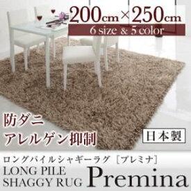 【スーパーSALE限定価格】ラグマット 200×250cm【Premina】グリーン ロングパイルシャギーラグ【Premina】プレミナ【代引不可】