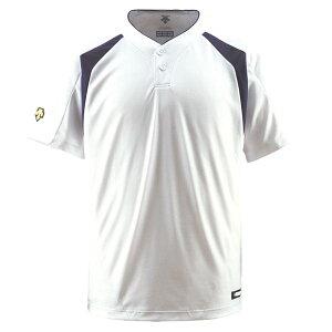 【ポイント10倍】デサント(DESCENTE) ベースボールシャツ(2ボタン) (野球) DB205 Sホワイト×Dネイビー XO