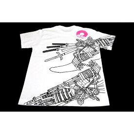【ポイント10倍】戦国武将Tシャツ 【加藤清正】 Lサイズ 半袖 綿100% ホワイト(白) 〔Uネック おもしろ〕