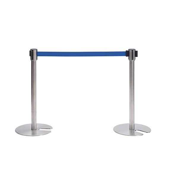 【ポイント10倍】ベルトパーティションSUS SUS-800-BL ■カラー:ポール色:ステンレス:ベルト色:ブルー【代引不可】