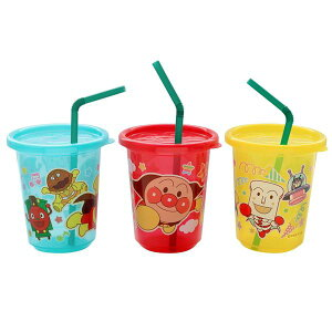 【ポイント10倍】【アンパンマン】 子供用 ストロー付き プラカップ 【3個入】 洗える フタ付き ストローカップ 【100個セット】