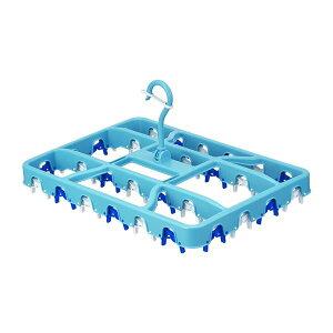 【ポイント10倍】レック らくらく角ハンガー30P ピンチ30個付き ブルー W-470