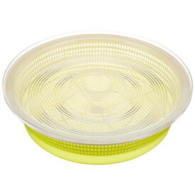 【ポイント10倍】(まとめ) 蓋付き 水切りザルセット/キッチン用品 【S グリーン】 丸型 シクラメン 【×60個セット】