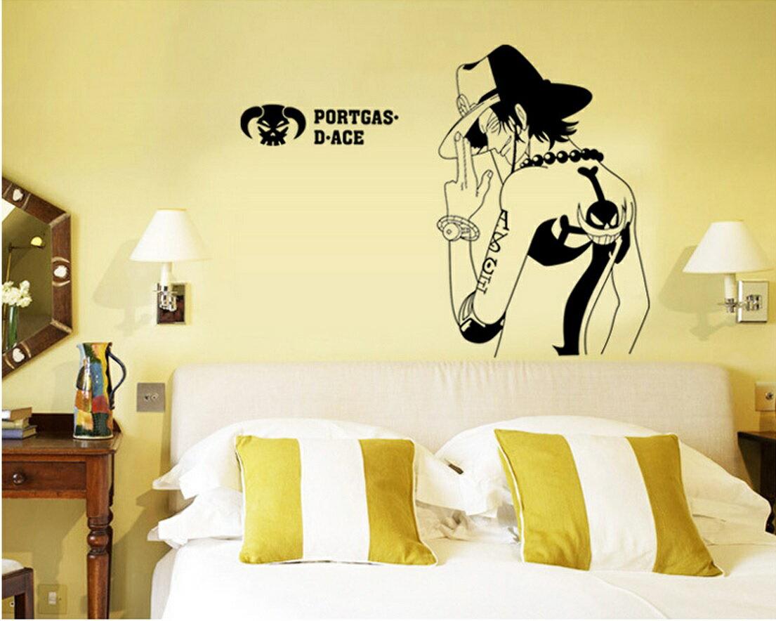 【ONE PIECE】ワンピース PORTGAS.D.ACE ポートガス ディ エース ウォールステッカー 貼って 剥がせる 壁紙 壁シール