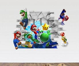 スーパーマリオ ルイージ&ヨッシー&カービー ウォールステッカー インテリアシール 貼って 剥がせる 壁紙 壁シール