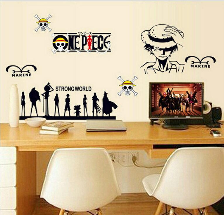 【ワンピース ルフィーと仲間たち】ウォールステッカー ウォール ステッカー ポスター シール 北欧 激安 貼って はがせる 壁紙 壁シール 子供部屋 キャラクター リビング 【CG】
