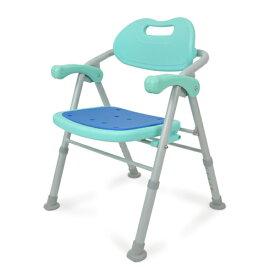 バスチェア お風呂椅子 アルミ製 背もたれ 肘掛け 高さ調節 5段階 折り畳み式 軽量 入浴介助 シャワーチェア「介護用品」 「プレゼント」 「ギフト」 「父の日」
