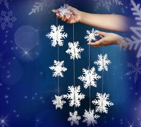 【 メール便 送料無料 】3D スノー ガーランド キラキラsnowcrystal 【 雪結晶 】 冬 クリスマス 雪景色オーナメント パーティー デコレーション 飾り 雪 Cyberplugs
