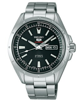 Seiko mechanical Seiko 5 sports mens watch automatic hand-wound movement < size adjustment free > black SARZ005