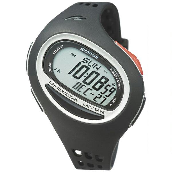 SOMA ソーマ ランニングウォッチ 腕時計 ランワン RunONE 100SL ラージ ブラック/シルバー デジタル NS08004【お取り寄せ商品】