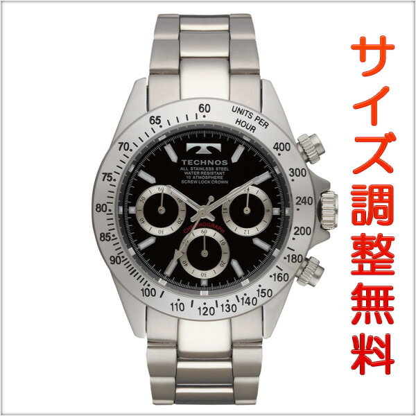 テクノス メンズ 腕時計 TECHNOS TSM401SB クロノグラフ クオーツ ブラック 【お取り寄せ商品】