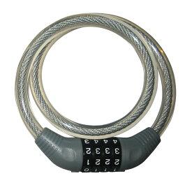 キャッシュレス5%還元 自転車 カギ ロック J&C ワイヤーロック ダイアルロック JC-001W 650mm グレイ