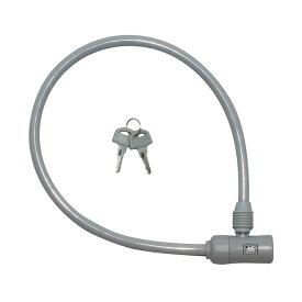 キャッシュレス5%還元 自転車 カギ ロック J&C シリンダ式ワイヤー錠 グレイ カギ付き JC-023W 60cm 600mm グレー