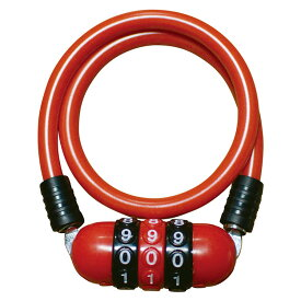 キャッシュレス5%還元 自転車 カギ ワイヤーロック J&C メガダイヤル錠 レッド JC-035W