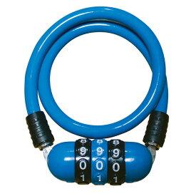 キャッシュレス5%還元 自転車 カギ ワイヤーロック J&C メガダイヤル錠 ブルー JC-035W