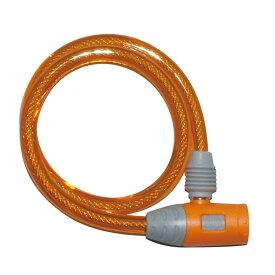 キャッシュレス5%還元 自転車 鍵 ワイヤーロック J&C ディンプルキー付き オレンジ コンパクトディンプル JC-020W