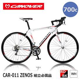 【土曜日曜も休まず発送】 自転車 ロードバイク 組立必要品 16段変速 700×23C 27インチ相当 CANOVER カノーバー CAR-011 ZENOS ゼノス レッド ホワイト