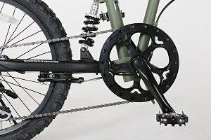 BMX20インチ折り畳みサスペンションマットブラック6段変速送料無料9割完成車グリーヴgriveX-206自転車